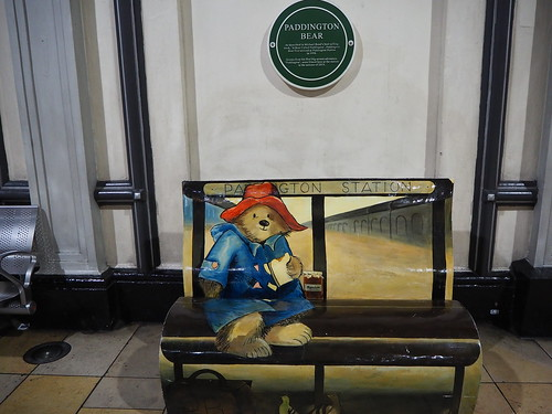 Paddington Bear Bench, Paddington Station, London, UK