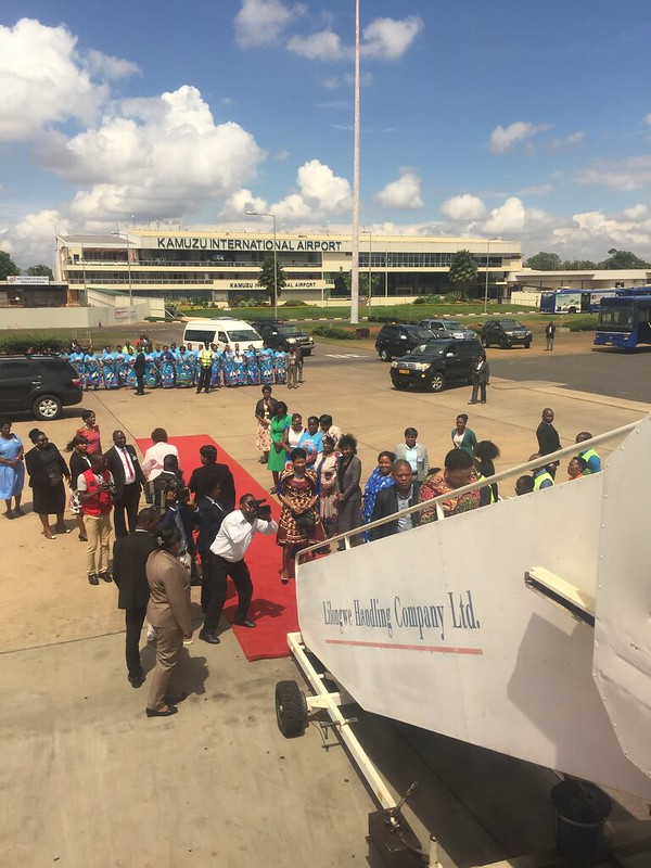Gertrude Maseko, the First Lady of Malawi – Ma Isaiah Ramoholi Thabane, the First Lady of Lesotho. The current President of Malawi is Peter Mutharika and the current president of Lesotho is Thomas Thabane. Kamuzu International Airport, Lilongwe Internatio