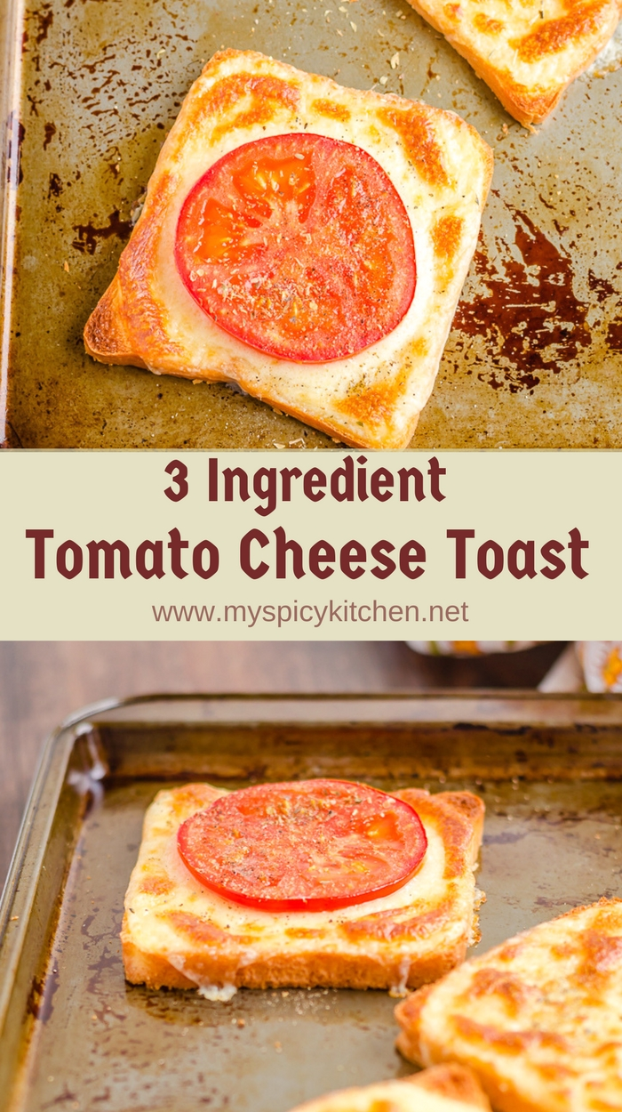 3 Ingredient Tomato Cheese Toast in a baking sheet that is ready in less than 10 minutes