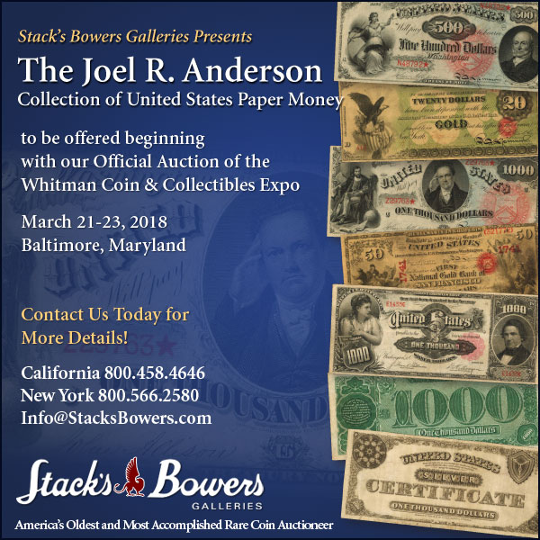 Stacks-Bowers E-Sylum ad 2018-01-21 Anderson sale
