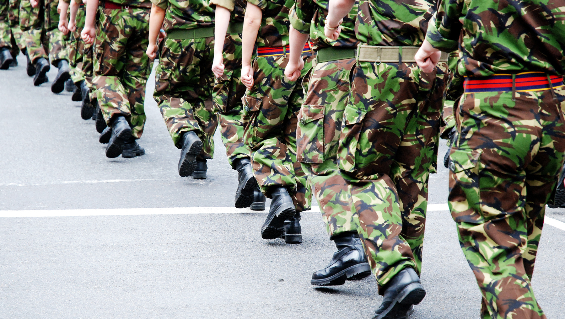 Soldiers marching in line