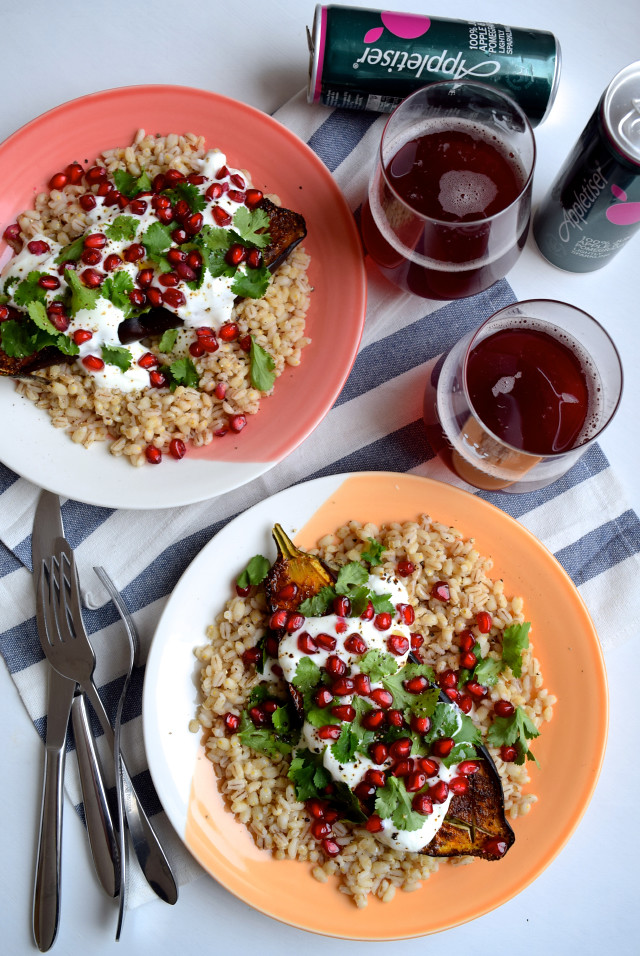 Spiced Aubergine with Barley, Yogurt & Pomegranate #aubergine #eggplant #middleeastern #barley #pomegranate #yogurt