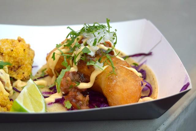 Fish Tacos from Breddos Tacos at The Kitchen at Old Spitalfields Market #tacos #fishtacos #breddostacos #streetfood #london #spitalfields