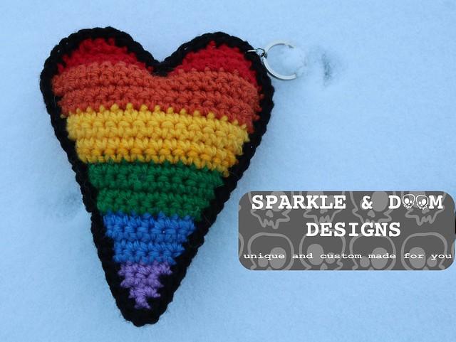 KEYCHAIN GSA Heart Gay Pride a