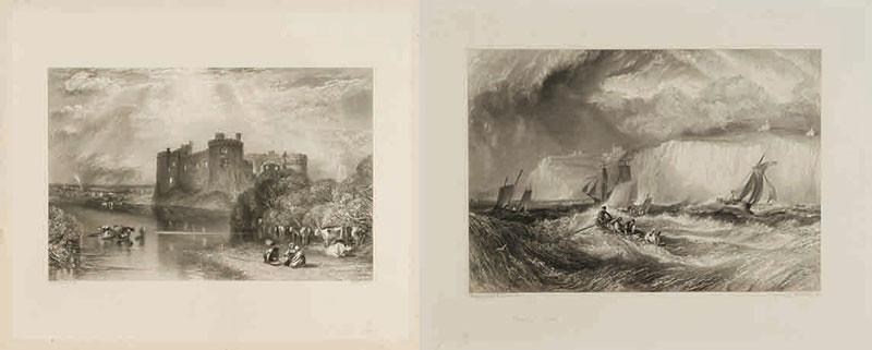 左)《カルー城、ペンブローク》(制作年不詳、郡山市立美術館) 右)《ドーヴァー海峡》(1827年)(制作年不詳、郡山市立美術館)