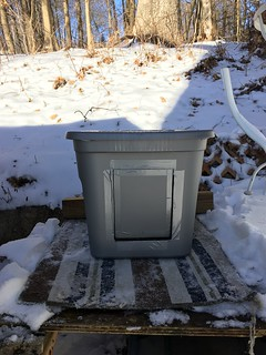 How to place your outdoor shelter for feral cats outside: High enough off the ground; low enough to get in.