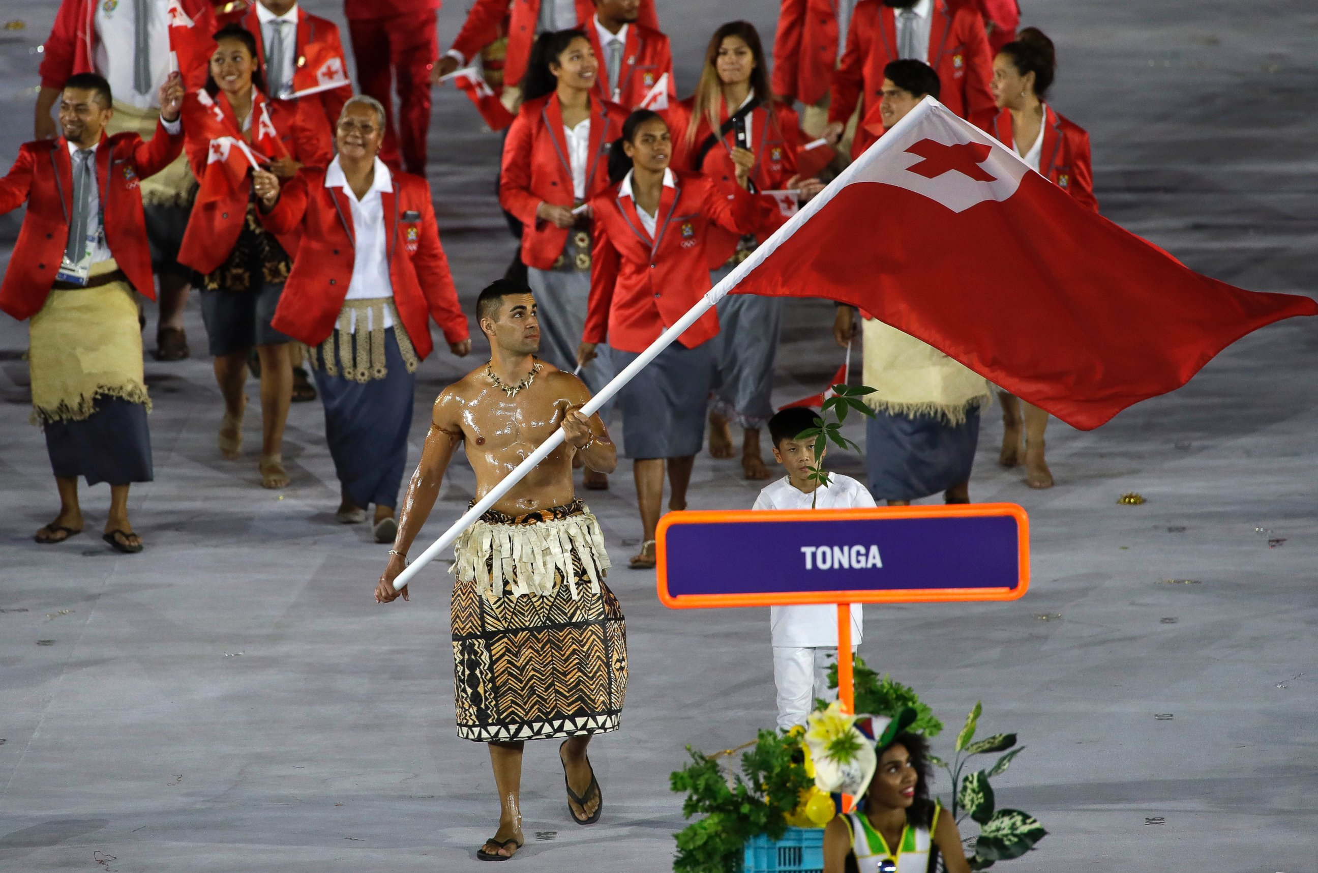 Tonga's Olympic team enters the stadium during the Opening Ceremonies in Rio de Janeiro, Brazil, on August 5, 2016.