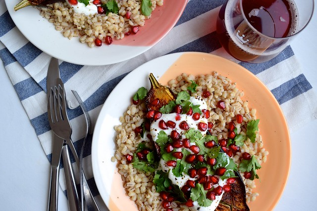 Middle Eastern Spiced Aubergine with Barley, Yogurt and Pomegranate #aubergine #eggplant #middleeastern #barley #pomegranate #yogurt