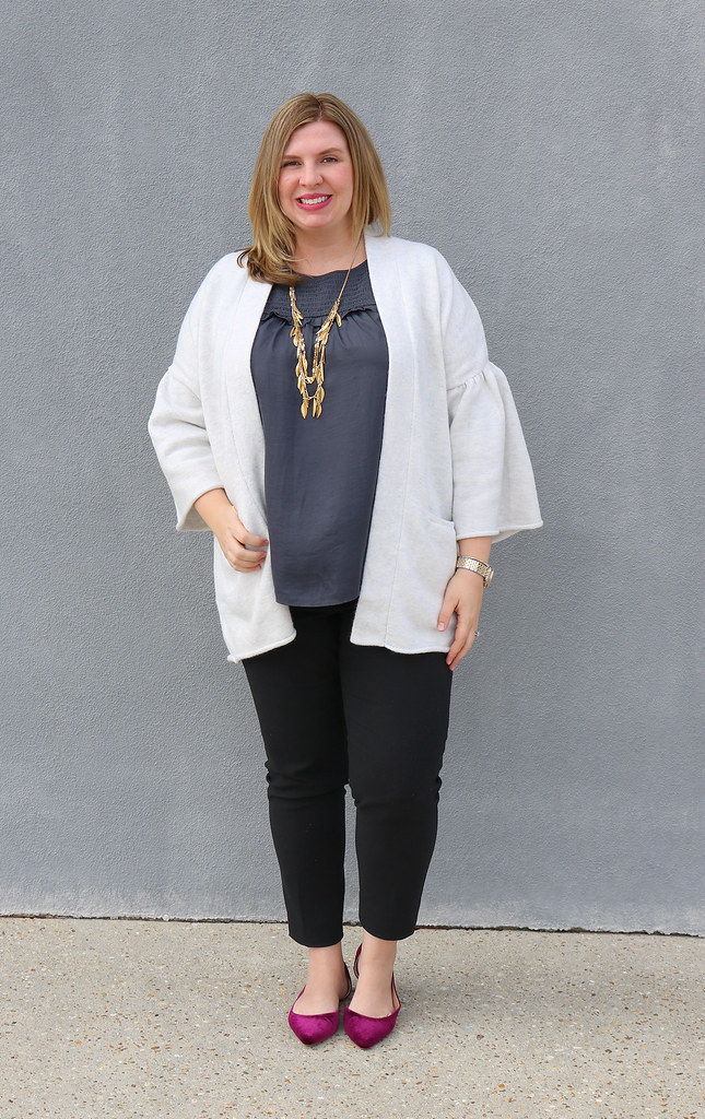 gray bell sleeve cardigan, gray shell, black pencil pants, garnet velvet flats 4