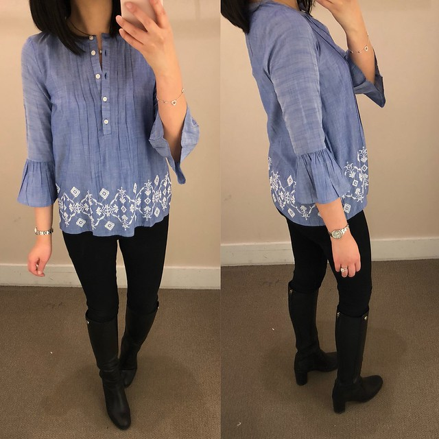LOFT Embroidered Chambray Bell Sleeve Top, size XXSP
