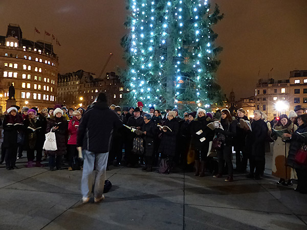 christmas carols à Trafalgar square