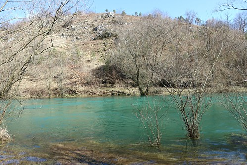 dabar river sanski most nature water trees sky landscape balkans bosnia