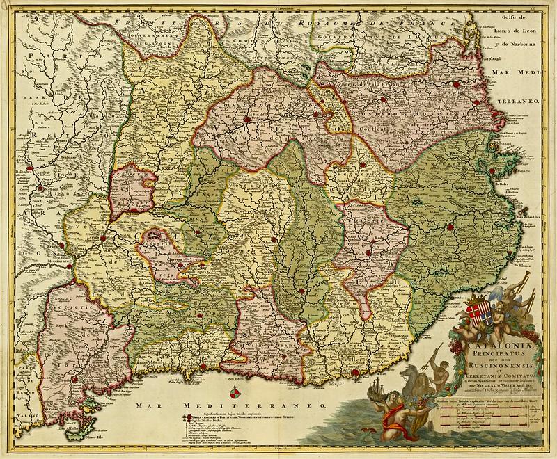 Nicolaum Visser - Cataloniae principatus, nec non Ruscinonensis et Cerretaniae comitatus in eorum vicariatus peraccurate distincti (1677)