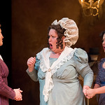 Sense and Sensibility at the Arvada Center - L-R: Jessica Robblee (Elinor Dashwood), Emma Messenger (Mrs. Jennings) and Regina Fernandez (Marianne Dashwood) Matt Gale Photography 2018