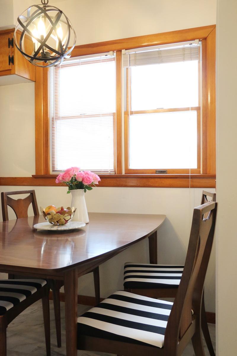 kitchen-nook-dining-set-pink-roses-globe-pendant-lights-8