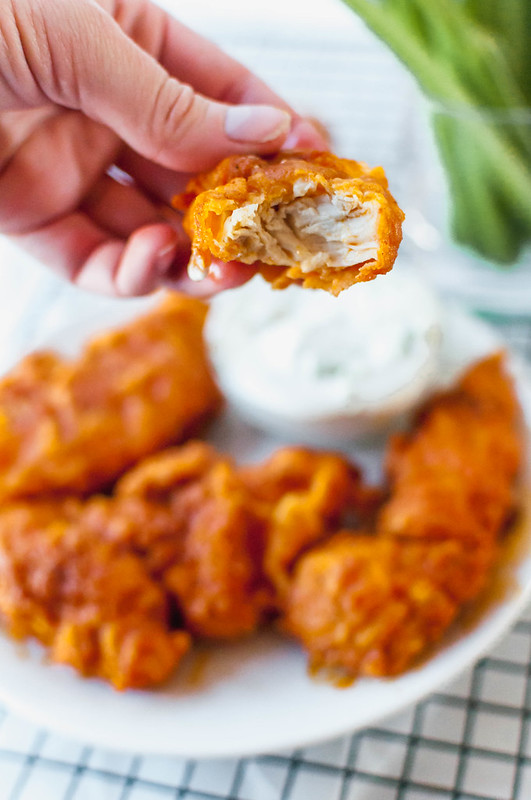 Crispy Buffalo Chicken Tenders are just what you need this week. Spicy, juicy, crispy perfection for snacking or dinnertime.