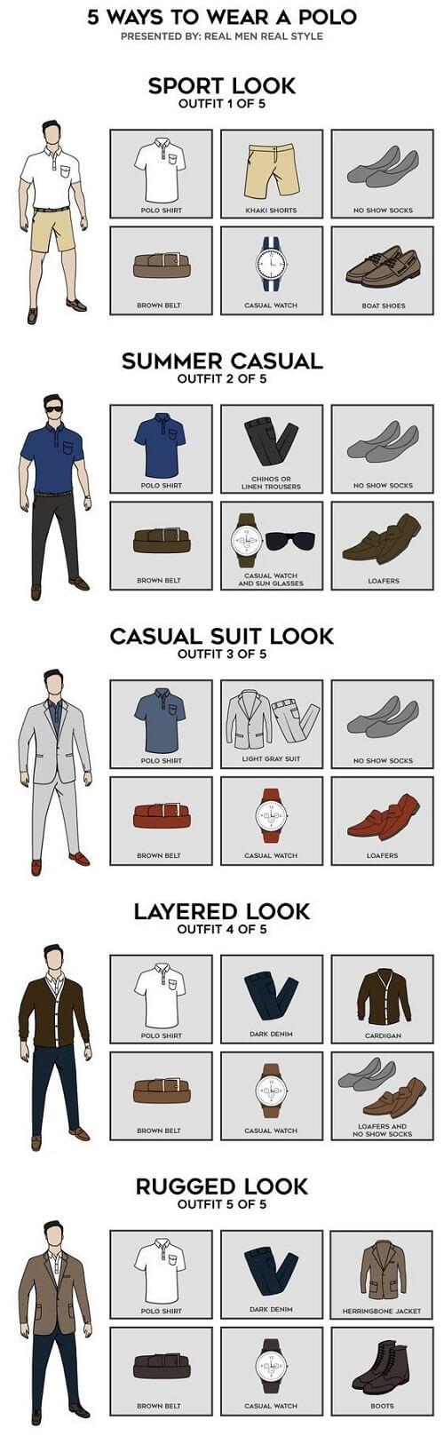 5 estilos para vestir camisetas polo infografía