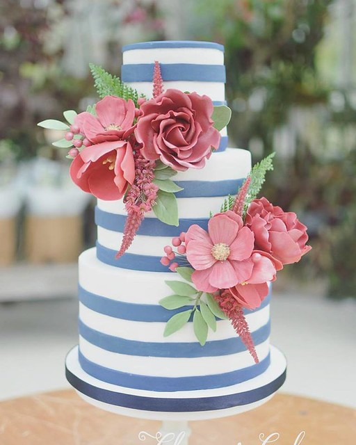 Deep Red Florals with Royal Blue Stripes by Chrissy's Cakes