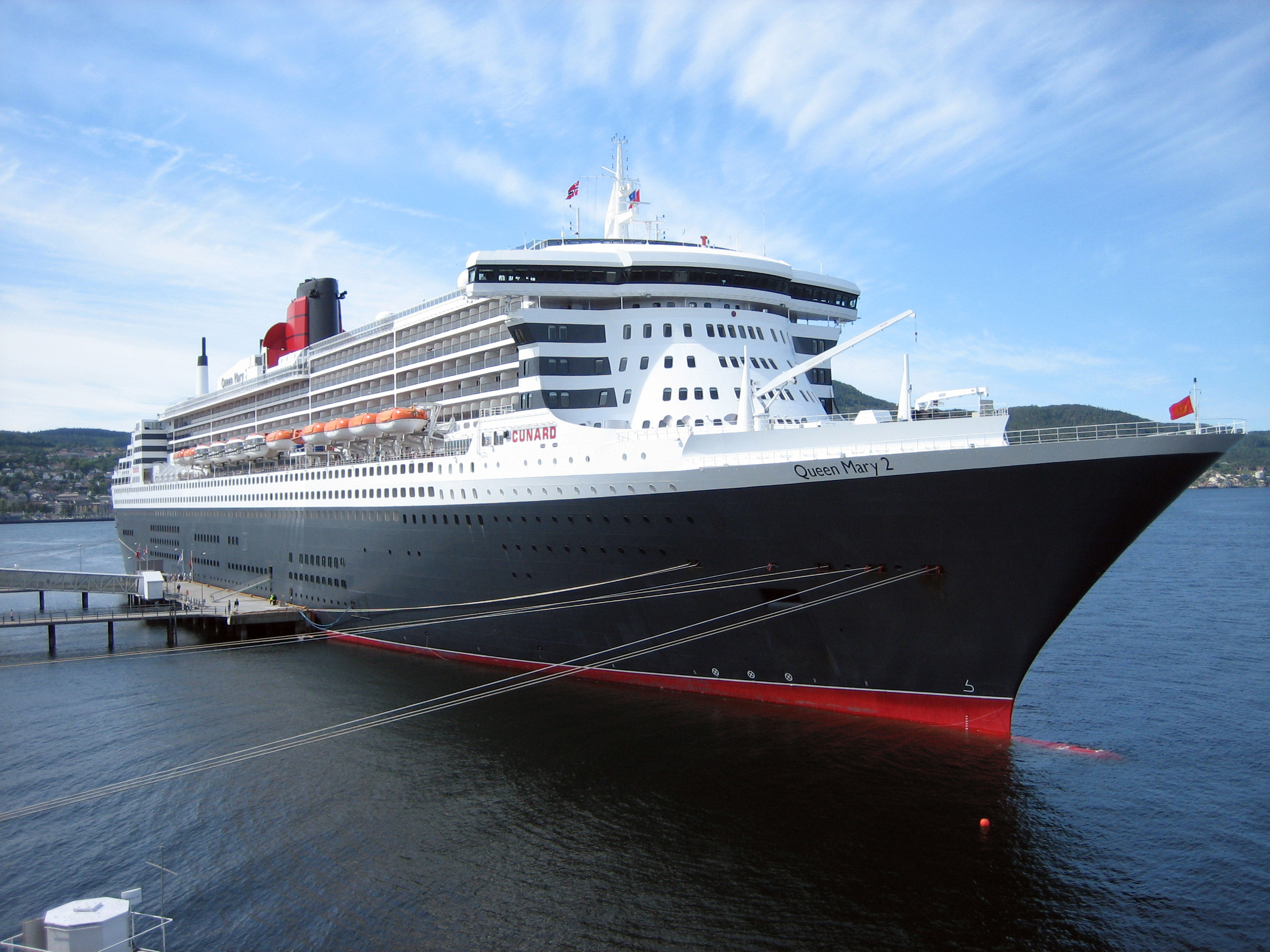 Queen Mary 2 moored at Trondheim, Norway on June 20, 2007.