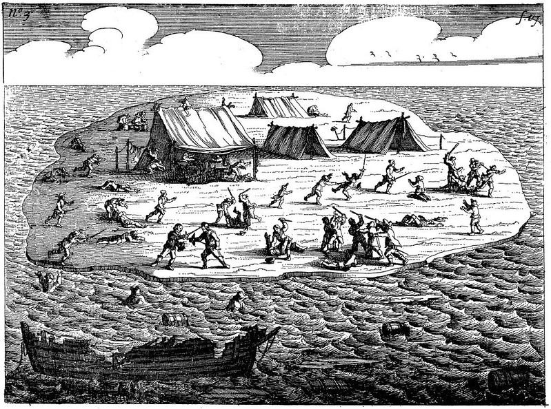 Image plate showing the struggle after wreckage of the ship Batavia