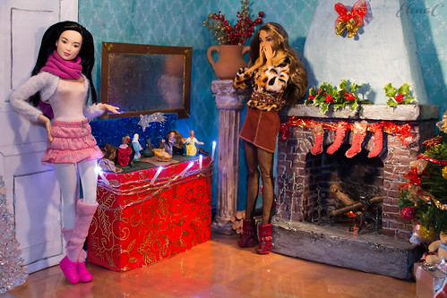 Barbie salottino natalizio diorama