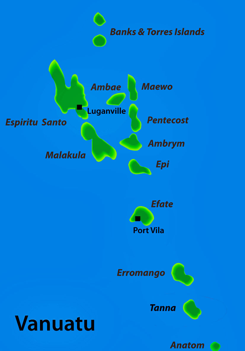 Map of Vanuatu with all the main islands identified,Banks,Torres,Ambae,Espiritu Santo,Maewo,pentecost,Ambrym,Epi,Malakula,Efate,Erromango,Tanna
