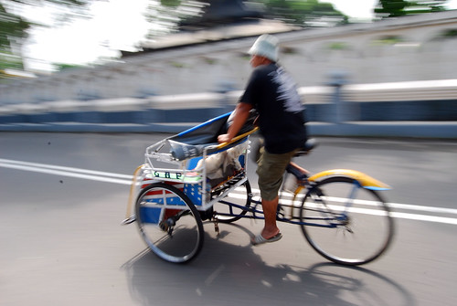 Three-wheeled Indonesian pedicab. From A Geek in Indonesia: Discover the Land of Komodo Dragons, Balinese Healers, and Dangdut Music