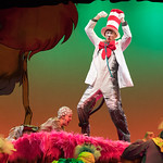 Seussical at the Arvada Center - L-R: Rebecca Spence (Gertrude) and Ben Griffin (Cat). Matt Gale Photography 2018