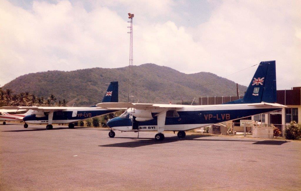 Britten-Norman BN-2 Islander planes with registration numbers VP-LVB and VP-LPD of Air BVI at Beer Island, British Virgin Islands.