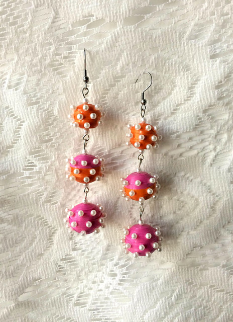 Triple Ball Quilled Earrings