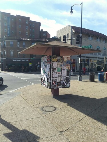 Community kiosk, Adams Morgan neighborhood, northeast corner of 18th Street and Columbia Road NW intersection