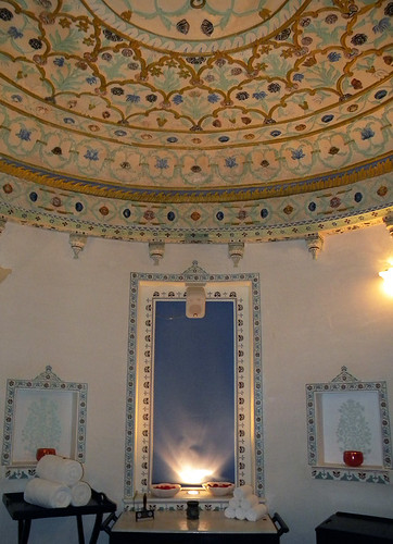 Decorative ceiling at a spa on Udaipur Island in India