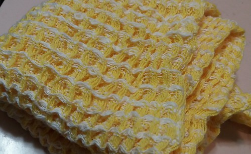 "wet finished ""lemon ice"" waffle weave towel, it's so nice and squishy!"