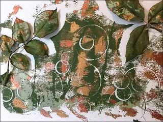 Gelli Print - Rose Flower Leaves
