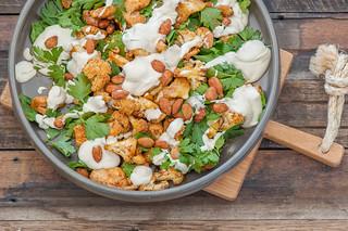 Spiced Roast Chicken & Cauliflower Salad with Tahini Maple Dressing
