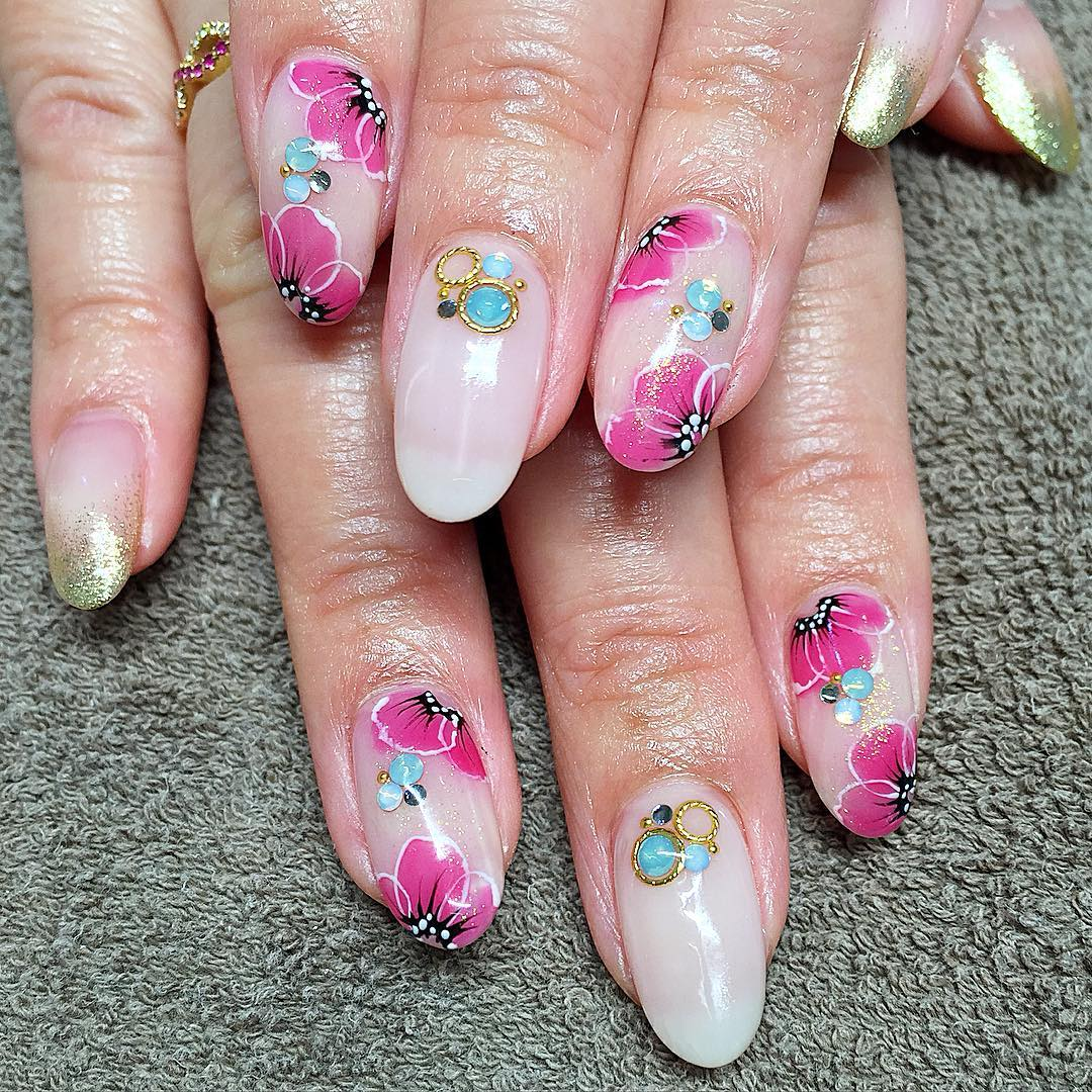 East Asia Meets The Southwest - Embellished Gel Nail Art