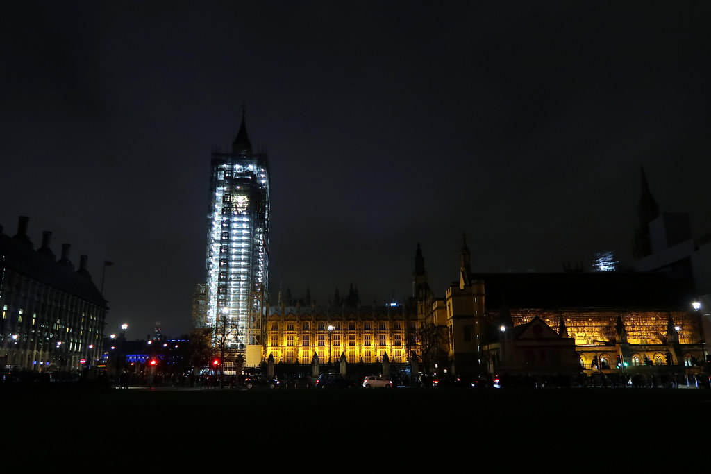 The renovations on the Elizabeth Tower by night