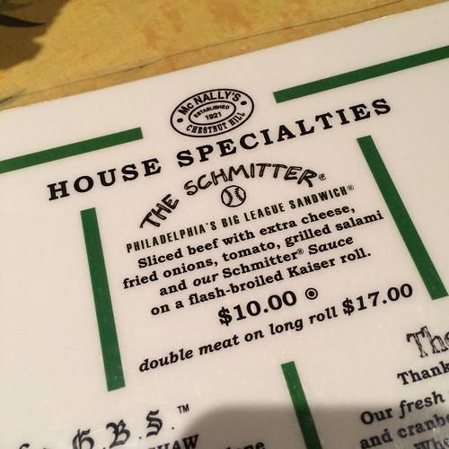 Schmitter Sandwich McNally's Tavern Chestnut Hill PA