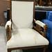 Ornate high backed chair dark wood frame E115