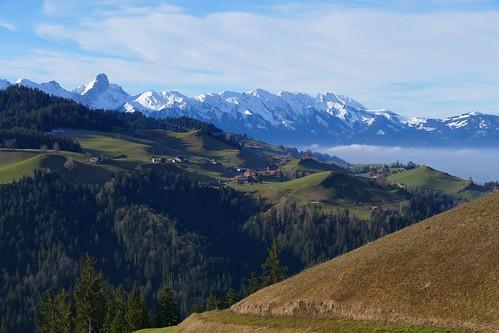 Aussicht bei Kürzi Eriz am 28.01.2018: Buchen (Horrenbach-Buchen) und Stockhornkette