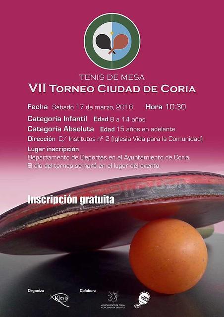 Coria acogerá el Torneo de Tenis de Mesa el sábado día 17 de marzo