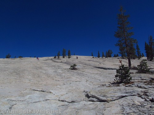 Climbing the more easterly, easier slopes of Pothole Dome, Yosemite National Park, California