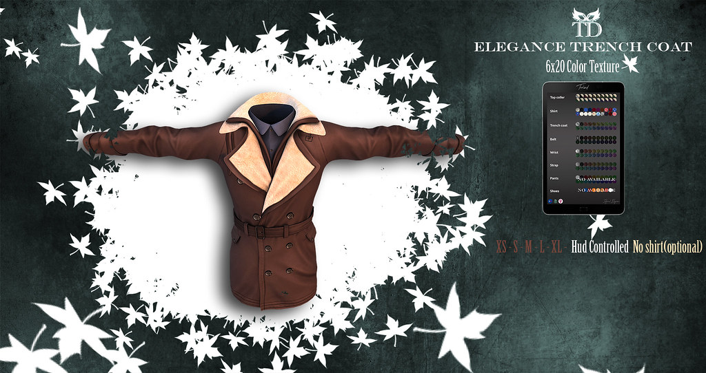 PROMO 24 HOURS 99 L$ ^TD^ Elegance Trench Coat Hud Controlled 20 x 6 Pattern&5 Sizes