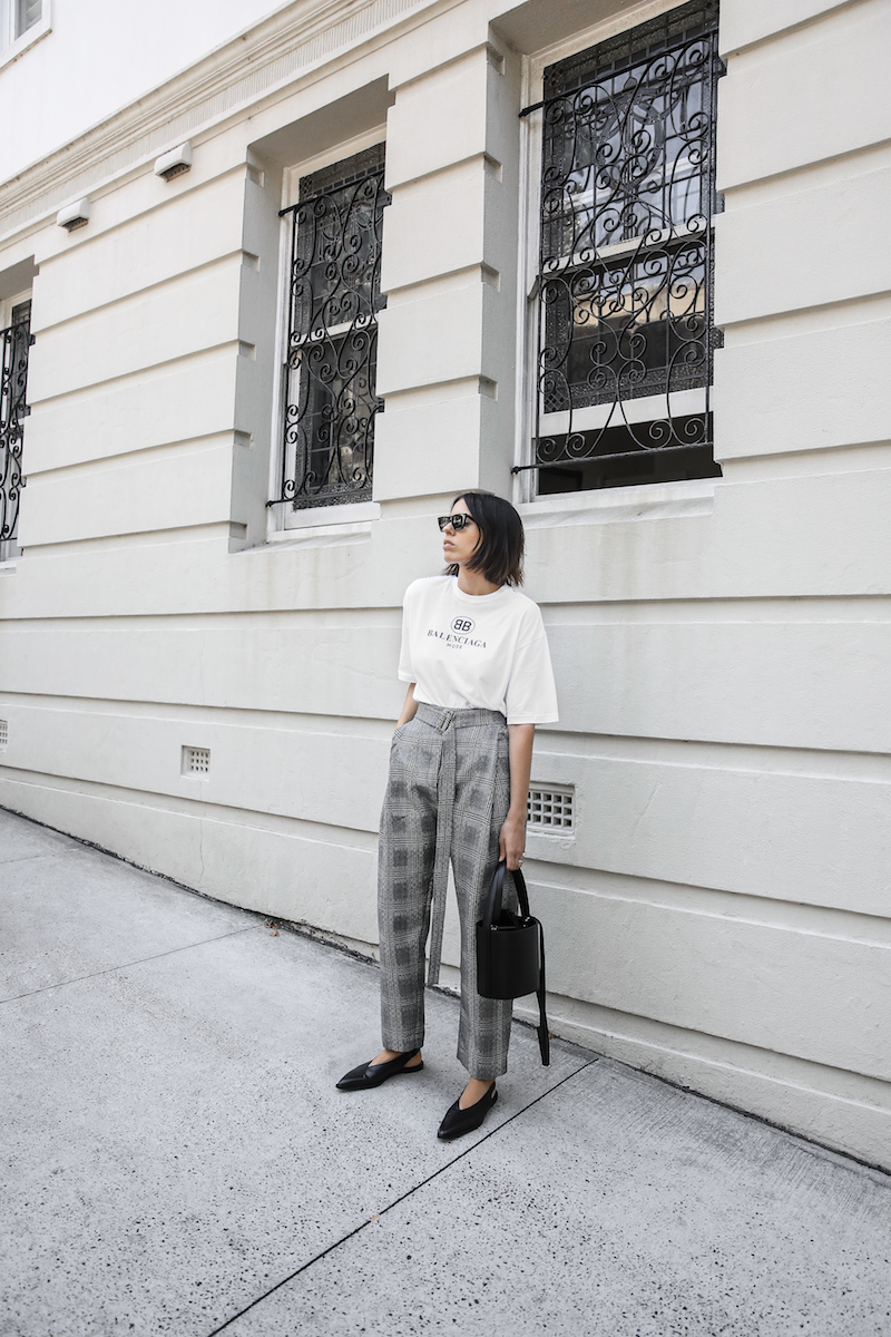 balenciaga logo tee t shirt street style fashion blogger minimal Ellery Kool Aid check pants staud bucket bag pointed flats Instagram (1 of 6)