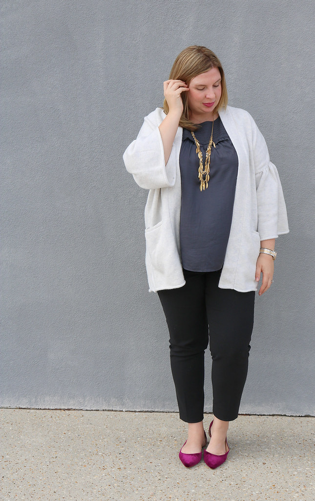 gray bell sleeve cardigan, gray shell, black pencil pants, garnet velvet flats 2