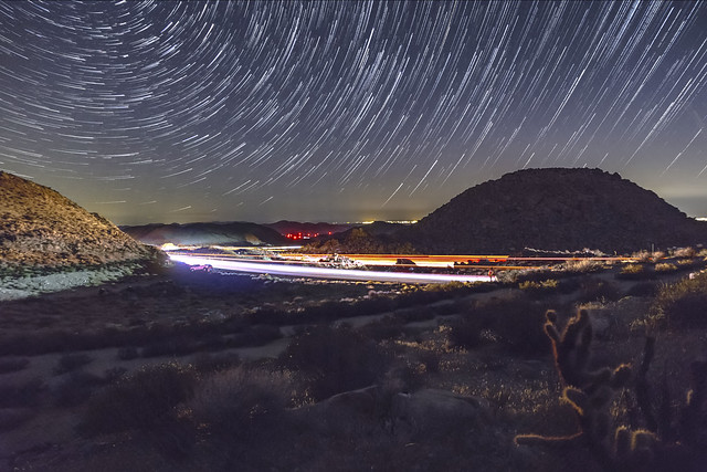 Car Trails and Star Trails: Interstate 8 and Remains of Old Highway 80 at Night