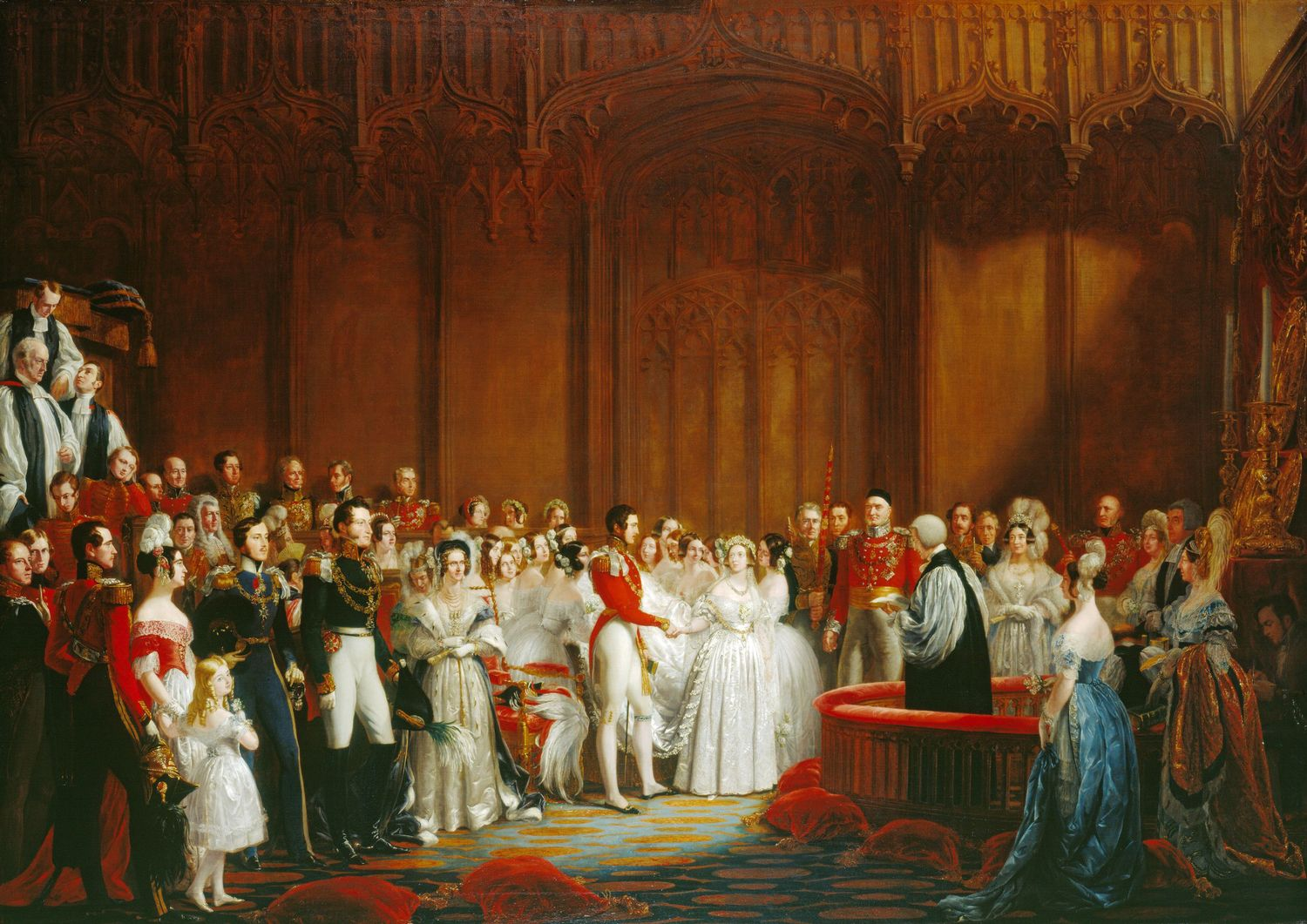 The Marriage of Queen Victoria and Prince Albert on February 10, 1840, painted by George Hayter.