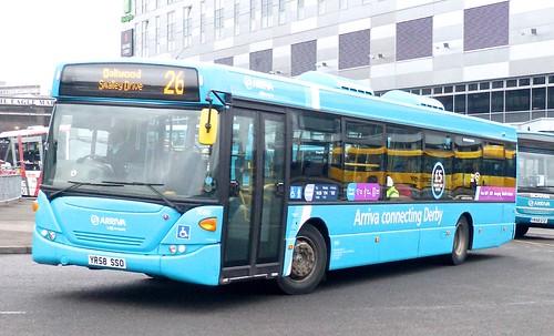 YR58 SSO 'ARRIVA Midlands' No. 3560, 'light blue livery'. Scania CN230UB OmniCity /1 on 'Dennis Basford's railsroadsrunways.blogspot.co.uk'