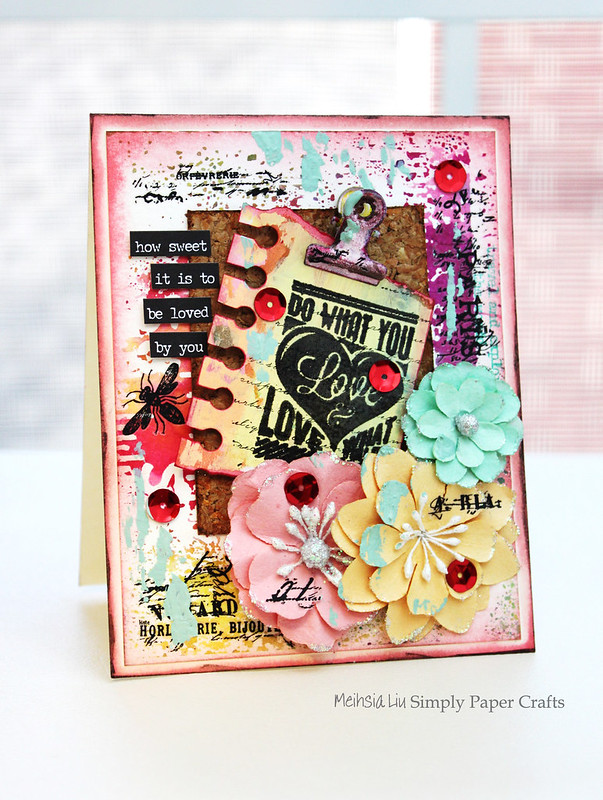 Meihsia Liu Simply Paper Crafts Mixed Media Love Note Card Simon Says Stamp Monday Challenge Tim Holtz Prima Flowers 1