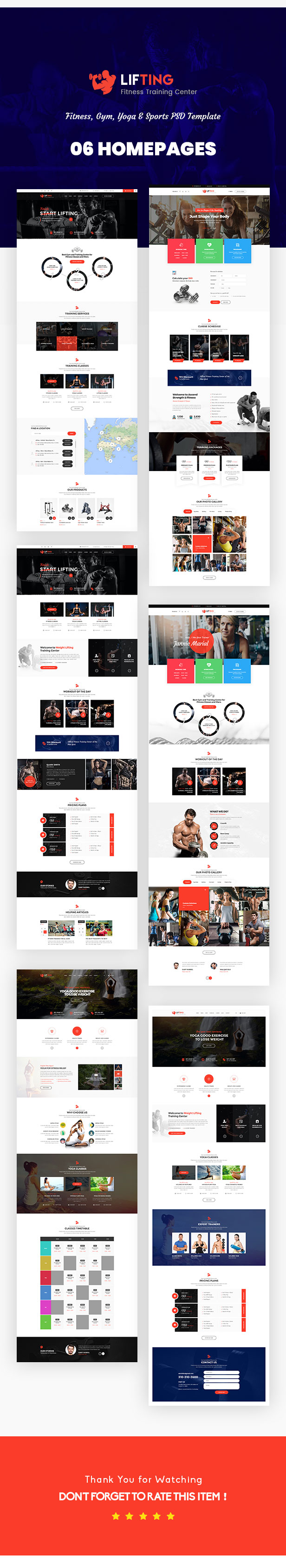 Lifting - Fitness, Gym, Yoga & Sports PSD Template - 2